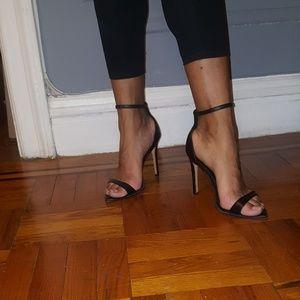 Zara basic black leather ankle strap heeled sandal